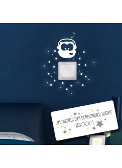 Leuchtsticker Lichtschalteraufkleber Wandtattoo Eule Kopfhörer mit Punkten fluoreszierend nachtleuchtend Wandsticker Aufkleber M950