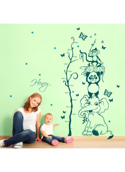 Wandtattoo Dschungel Tiere Messlatte Baum mit Wunschnamen und bunten Punkten 2-farbig M1730