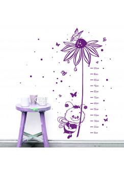 Wandtattoo Messlatte Biene mit Blume Schmetterlinge und Punkte M2019