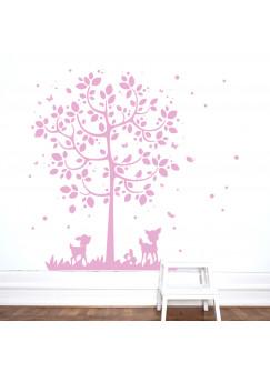 Wandtattoo Wandsticker Baum mit Reh Hasen Vögel Schmetterlinge und Punkte M2126