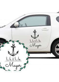 Autoaufkleber Autotattoo Hochzeit Maritim Mr. & Mrs. mit Anker und Namen M2140