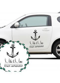 Autoaufkleber Autotattoo Hochzeit Maritim mit Anker Namen und Spruch frisch verheiratet M2141