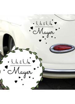 Autoaufkleber Autotattoo Hochzeit Mr. & Mrs. mit Herzen und Namen M2142