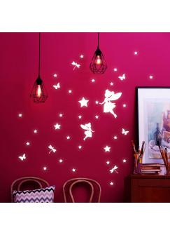 Wandtattoo Elfen Feen und Sterne fluoreszierend Leuchtsticker Set 42 Stück M2205