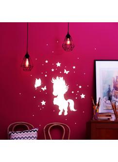 Wandtattoo Pferdchen Schmetterlinge und Sterne fluoreszierend Leuchtsticker Set 42 Stück M2206