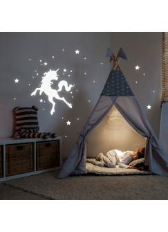 Wandtattoo Einhorn Punkte und Sterne fluoreszierend Leuchtsticker Set 78 Stück M2208XL