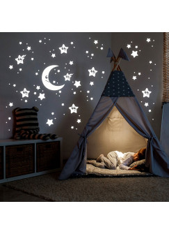 Wandtattoo Sternenhimmel fluoreszierend Leuchtsticker Set Sterne Mond & Punkte 78 Stück M2211