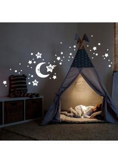 Wandtattoo Sternenhimmel fluoreszierend Leuchtsticker Set Sterne Mond & Punkte 75 Stück M2212