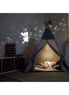 Wandtattoo Sternenhimmel fluoreszierend Leuchtsticker Set mit Elfe Fee Sterne & Punkte 117 Stück M2213