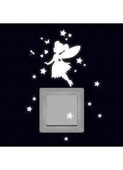 Lichtschaltertattoo Elfe Fee fluoreszierend Leuchtsticker mit Elfe Fee Sterne & Herzen M2214