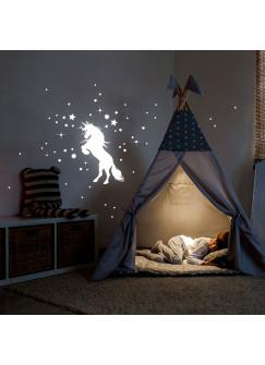 Wandtattoo Einhorn Punkte und Sterne fluoreszierend Leuchtsticker Set 64 Stück M2215