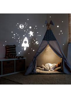 Wandtattoo Raumfahrt Weltall fluoreszierend Leuchtsticker mit Planeten Rakete Astronaut & Sterne M2216