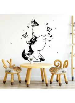 Wandtattoo mit Einhorn Schmetterlinge und Punkte Kinderzimmer Wanddeko Wandgestaltung M2243