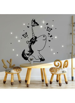 Wandtattoo mit Einhorn Schmetterlinge Punkte & Sterne fluoreszierend Kinderzimmer Wanddeko Wandgestaltung M2244