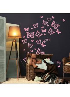 "Wandtattoo Schmetterlinge Set"" Aufkleber Wanddeko Wandgestaltung insg. 37 Stück M2245"""