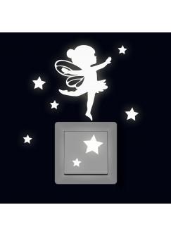 Lichtschaltertattoo Leuchtsticker Wandtattoo Elfe Fee Ballerina mit Sterne fluoreszierend M2327