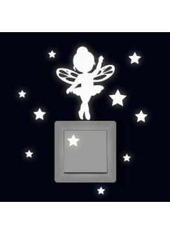 Lichtschaltertattoo Leuchtsticker Wandtattoo Elfe Fee Mila Ballerina mit Sterne fluoreszierend M2328