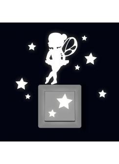 Lichtschaltertattoo Leuchtsticker Wandtattoo Elfe Fee Pinchen Ballerina mit Sterne fluoreszierend M2329