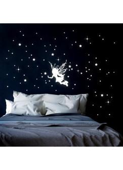 Leuchtsticker Wandtattoo Elfe Fee Sternenhimmel mit Sterne fluoreszierend M2331