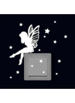 Lichtschaltertattoo Leuchtsticker Wandtattoo Elfe Fee sitzend mit Sterne fluoreszierend M2332