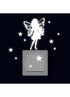 Lichtschaltertattoo Leuchtsticker Wandtattoo Elfe Fee mit Sterne fluoreszierend M2333