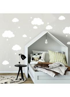 Wandtattoo mit Wolken Sterne & Punkte in weiß Kinderzimmer Wanddeko Wandgestaltung M2334