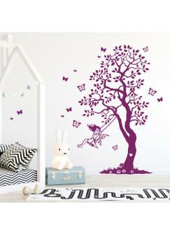 Wandtattoo Baum Elfe Fee auf Schaukel & Schmetterlinge Kinderzimmer Wanddeko Wandgestaltung M2335