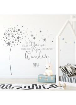 Wandtattoo Babyzimmer Pusteblume Spruch Zitat & Sterne Kinderzimmer Wanddeko Wandgestaltung mit Namen & Datum M2342