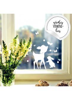 Fensterbild Hase Häschen & Rehkitz -WIEDERVERWENDBAR- Fensterdeko Fensterbilder Osterhase Reh & Schmetterlinge M2347