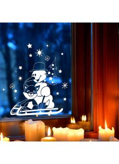Fensterbild Schneemann mit Fuchs im Schnee Schneeflocken Sterne Winterlandschaft Fensterdeko Kinderzimmer M2406