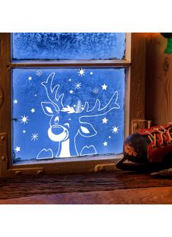 Fensterbild Elch Hirsch im Schnee Schneeflocken Sterne Winterlandschaft Fensterdeko Kinderzimmer M2407