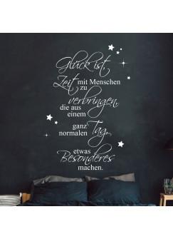 """Wandtattoo Familie Aufkleber Zitat Spruch """"Glück ist Zeit verbringen mit Menschen"""" + Sterne Wanddeko Wandgestaltung M2449"""