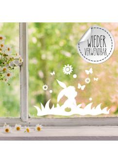 Fensterbild Hase Häschen im Gras Schmetterlinge Blumen wiederverwendbar Frühling Frühlingsdeko Ostern Osterdeko Fensterdeko Fensterbilder M2450