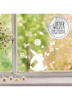 Fensterbild Hase Häschen sitzend Schmetterlinge Blumen wiederverwendbar Frühling Frühlingsdeko Ostern Osterdeko Fensterdeko Fensterbilder M2451