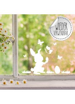 Fensterbild Hase Häschen Osterei Schmetterlinge wiederverwendbar Frühling Frühlingsdeko Ostern Osterdeko Fensterdeko Fensterbilder M2454