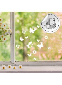 Fensterbild Schmetterlinge Blumen wiederverwendbar Frühling Frühlingsdeko Ostern Osterdeko Fensterdeko Fensterbilder M2455