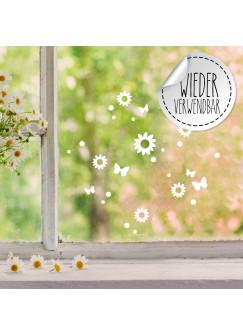 Fensterbild Blumen Schmetterlinge wiederverwendbar Frühling Frühlingsdeko Ostern Osterdeko Fensterdeko Fensterbilder M2458