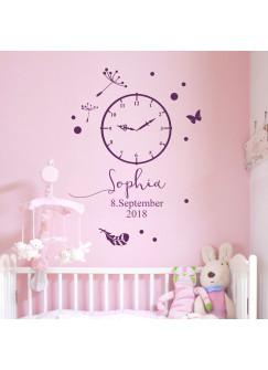 Wandtattoo Geburt Geburtszeit mit Uhr Wunschdaten Geburtsdaten Wunschname Punkten Feder Schmetterling usw. M2459