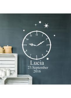 Wandtattoo Geburt Geburtszeit Uhr mit Wunschdaten Geburtsdaten Wunschname Sterne Sternchen M2460