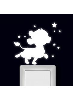 Lichtschaltertattoo Wandtattoo Löwe Löwenbaby mit Sterne fluoreszierend M2473