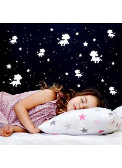 Wandtattoo Leuchtsticker Löwe Löwenbaby Sterne Punkte fluoreszierend nachleuchtend 55 Teile M2481