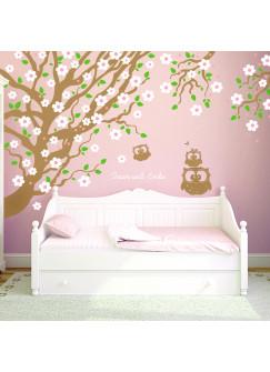 Wandtattoo Eulenbaum Kirschbaum mit Eulen Kirschblüten Spruch träum süß und Wunschname vierfarbig M1012