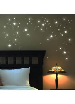 Wandtattoo Leuchtsterne leuchtende Sterne Punkte fluoreszierend 100 Teile M1169