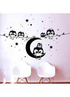 Wandtattoo Eulen Eulchen Eulenfamilie auf Ast mit Mond und Sternen M1184