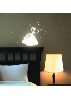 Wandtattoo Prinzessin Cinderella Sterne Punkte fluoreszierend M1191