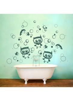 Wandtattoo Eulen Unterwasser mit Taucherbrille Fische und Luftblasen M1503