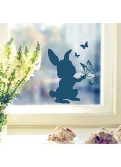 Fensterbild Wandtattoo Hase Kaninchen mit Schmetterlingen M1857