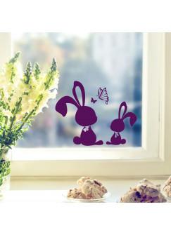 Fensterbild Wandtattoo Hasen Kaninchen mit Schmetterlingen M1859