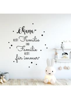 """Wandtattoo Familie Aufkleber Zitat Spruch """"Ohana heißt Familie"""" mit Punkte Wanddeko Wandgestaltung M2234"""