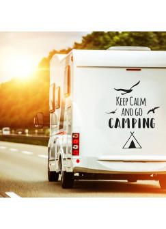 Autotattoo Heckscheibenaufkleber Wohnwagen Sticker mit Motto Spruch Keep Calm and go Camping Autosticker M2374